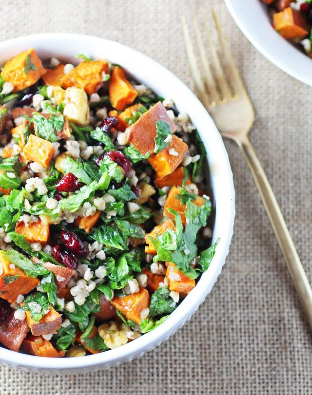 Buckwheat Autumn Salad With Sweet Potato and Cranberries