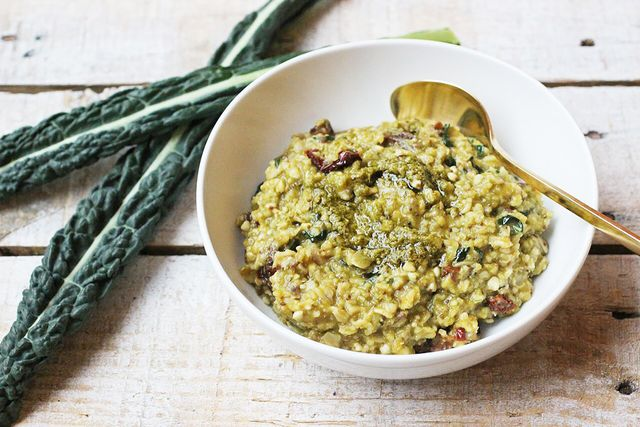 6-Grain oatmeal With Pesto, Sun-Dried Tomatoes, and Kale