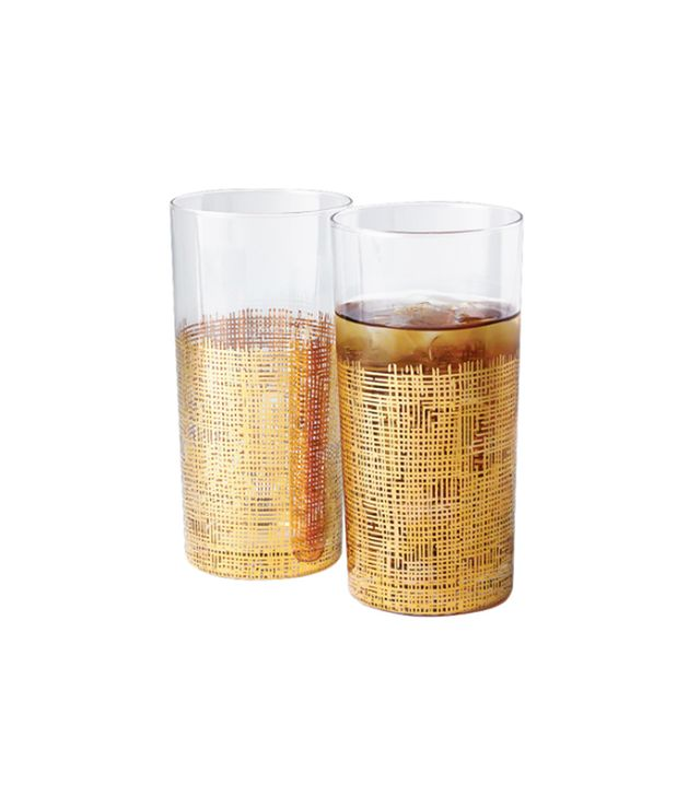 Gore Dean Home Crosshatch Gold High Ball Glasses