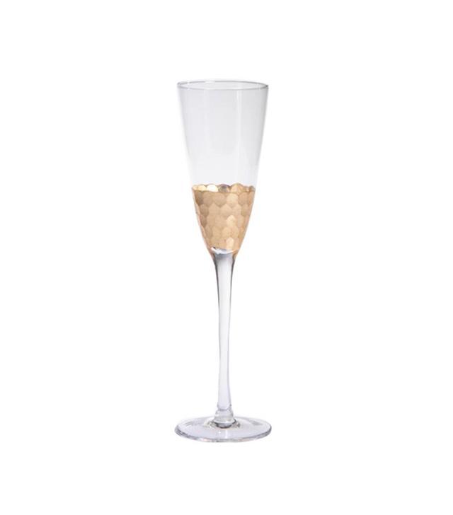 Barclay Butera Interiors Fez Cut Glass Gold Leaf Champagne Flute