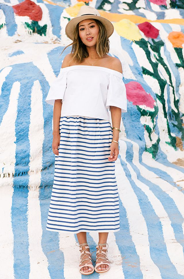 #3: Off-the-Shoulder Top + Midi Skirt