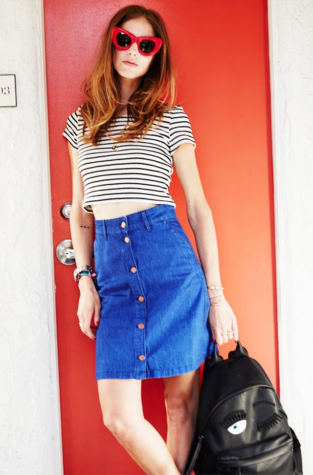4. T-Shirt + Button-Front Skirt