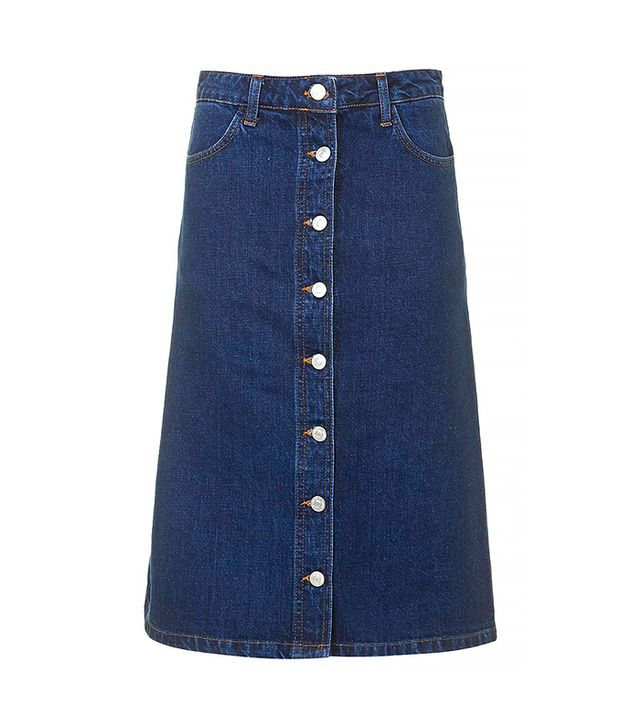 Topshop Moto Denim Button-Front Midi Skirt