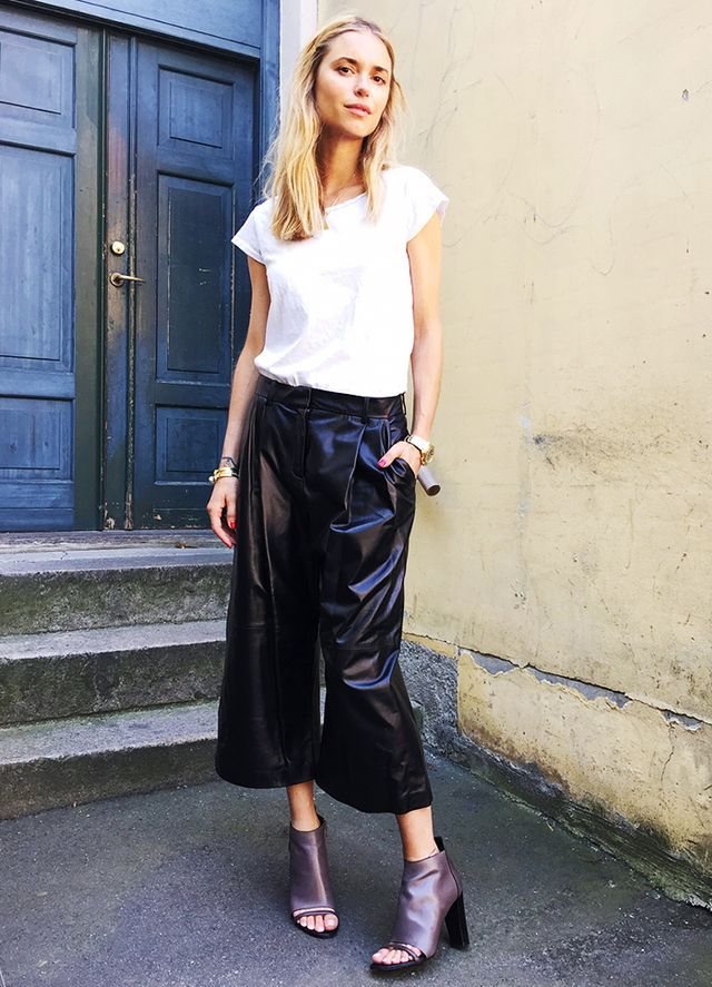 5. White Tee + Culottes