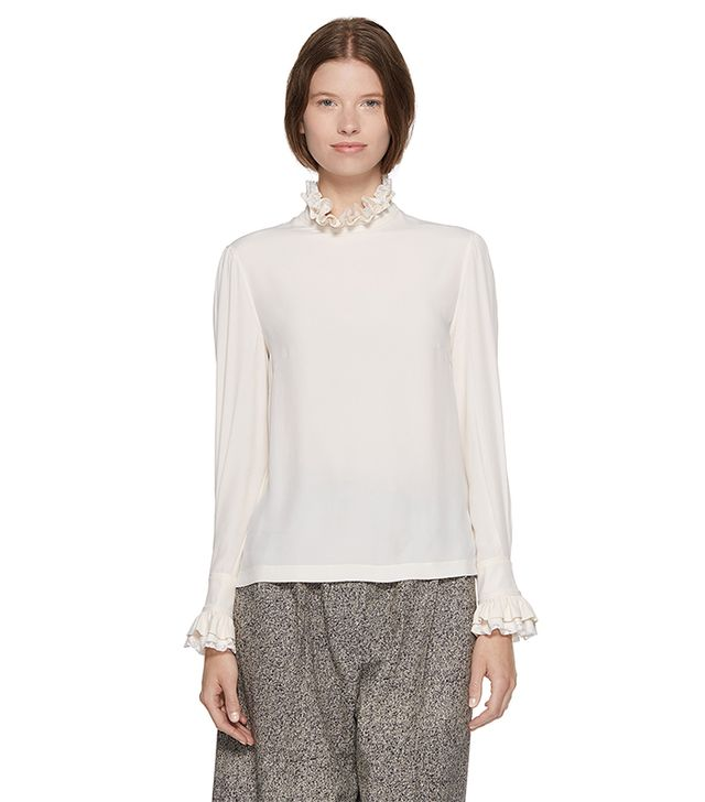 Philosophy Lace-Trim Silky Shirt