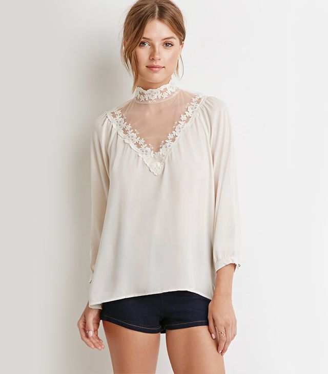 Forever 21 Lace-Paneled Blouse