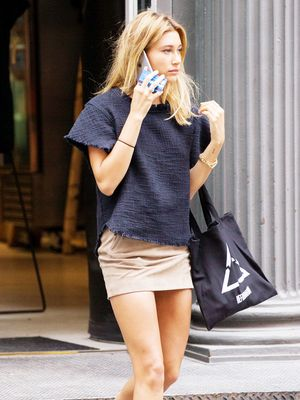 Found: Hailey Baldwin's Must-Have Suede Miniskirt