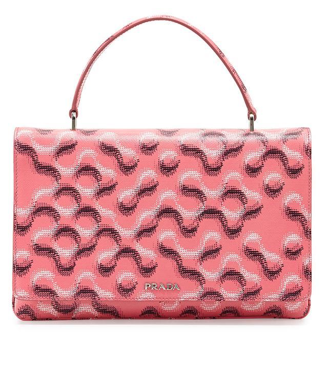 Prada Molecule-Print Saffiano Top-Handle Bag