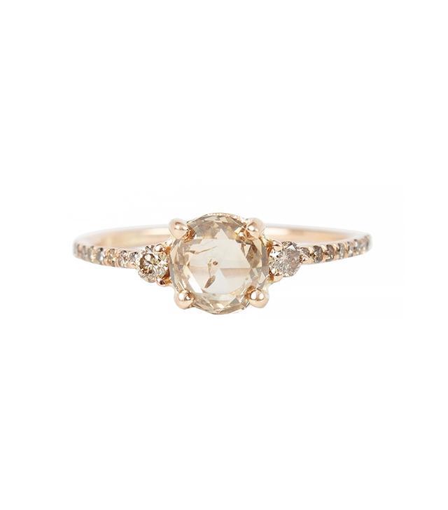 Blanca Monrós Gómez Champagne Diamond Solitaire Ring
