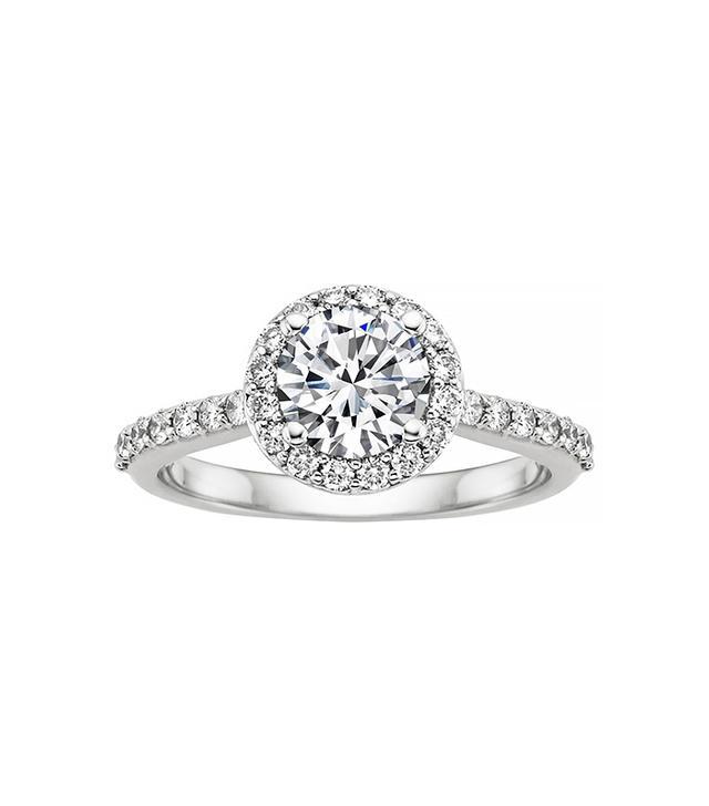 Brilliant Earth 18K White Gold Halo Diamond Ring With .30 Carat Round Diamond