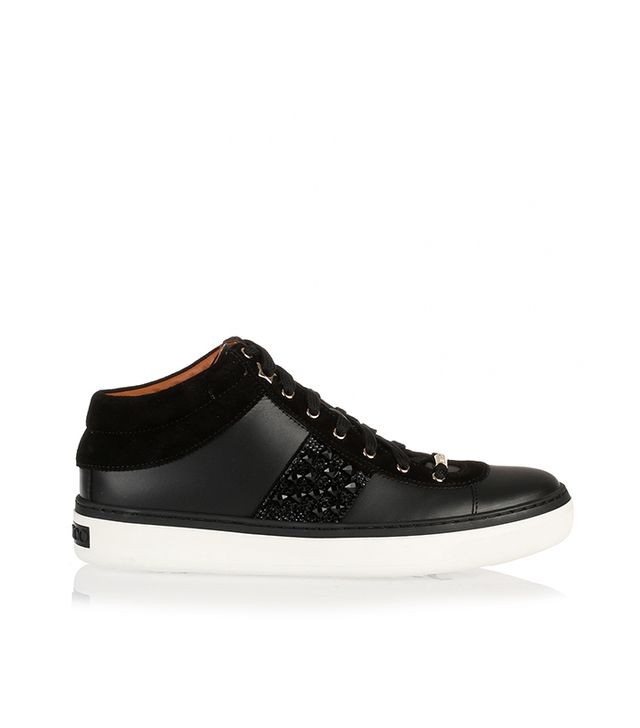 Jimmy Choo Bells Leather Crystal Sneakers