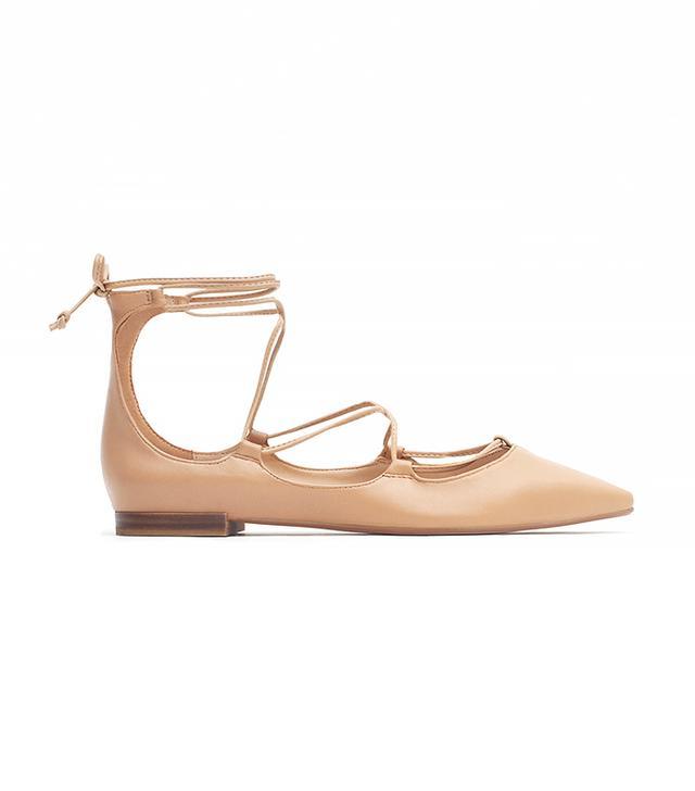 Zara Tie-Up Leather Ballerinas
