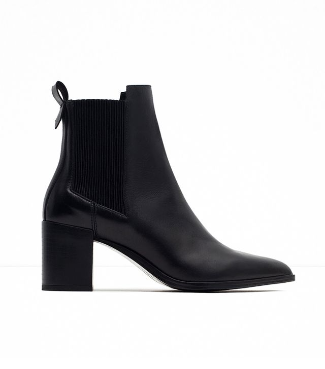 Zara High Heel Leather Ankle Boots With Stretch Detail