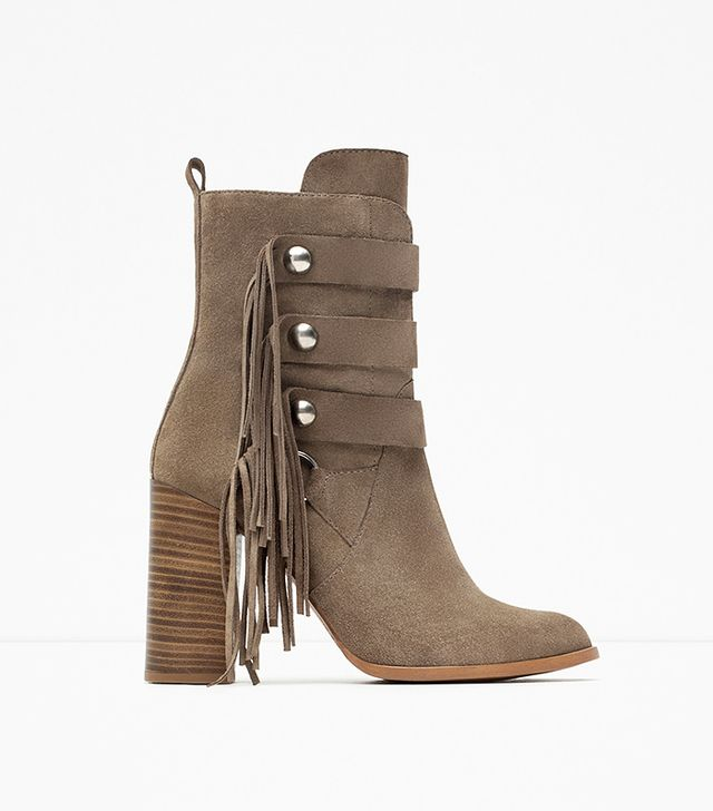 Zara High Heel Leather Ankle Boots With Fringes