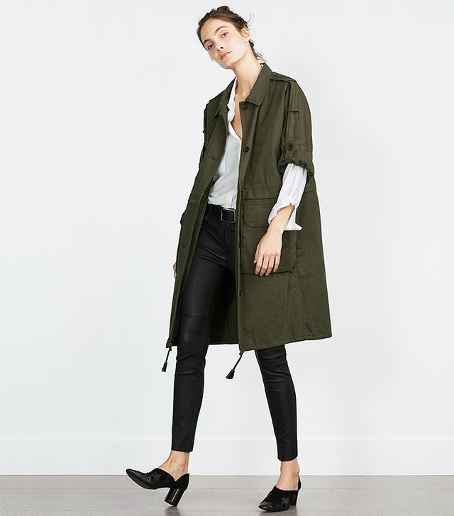 Zara Parka With Roll-Up Sleeves