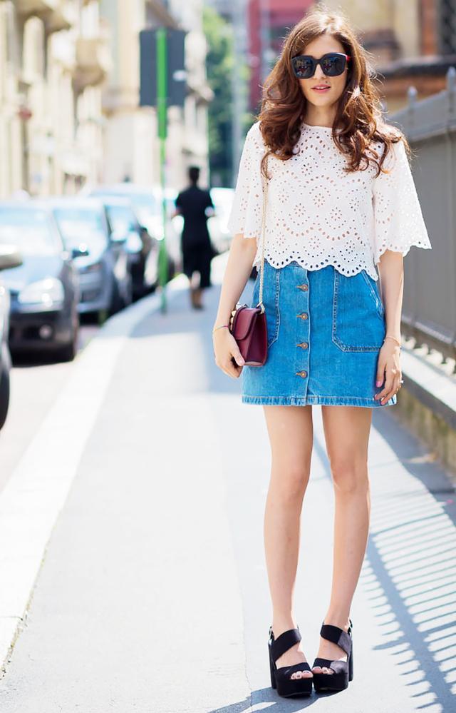 Shop denim skirts.
