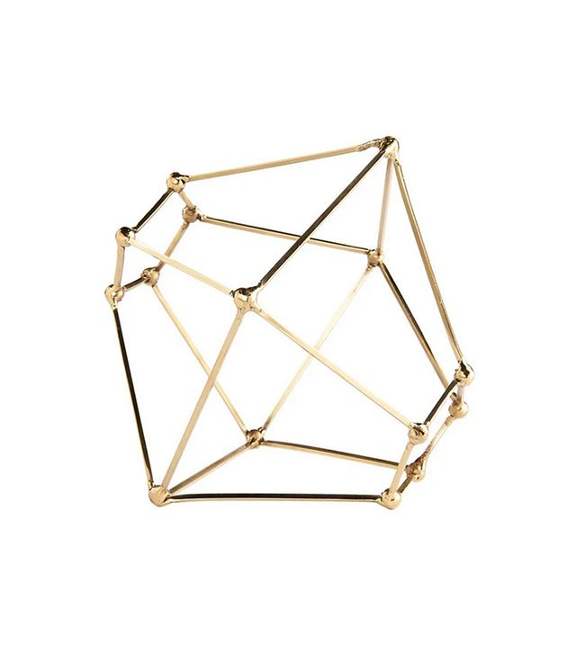 Gold Leaf Design Group Brass Polyhedron Sculpture