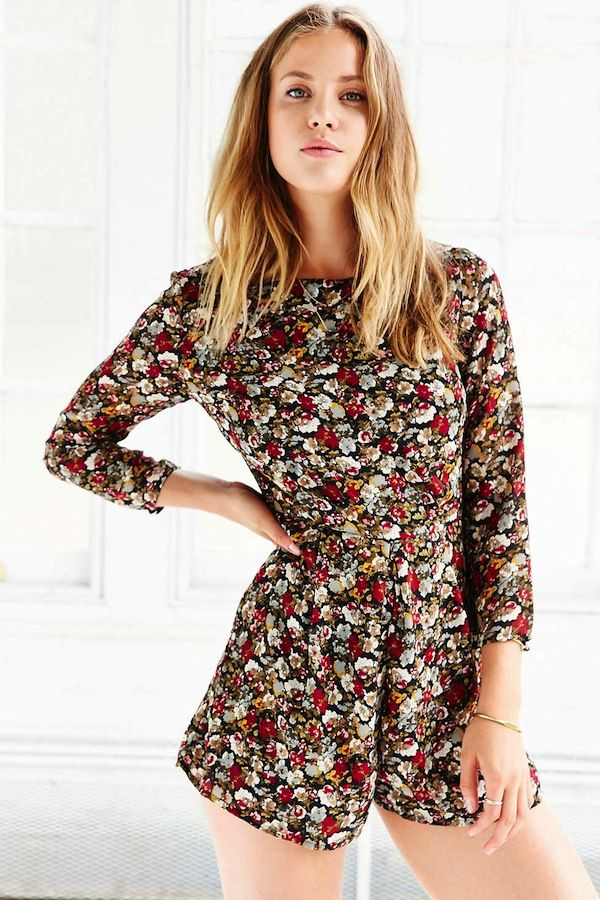 Lucca Couture Floral Chiffon Long-Sleeve Romper