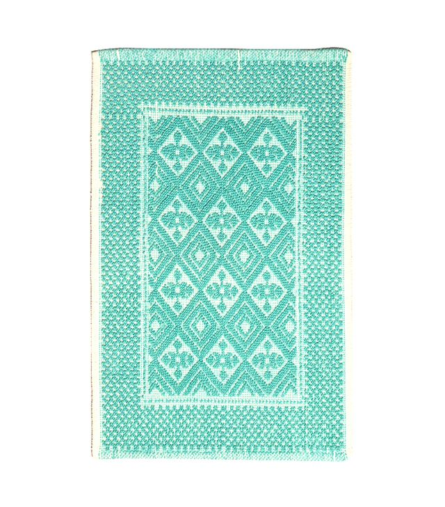 World Market Sea Blue Contrast Jacquard Bath Mat