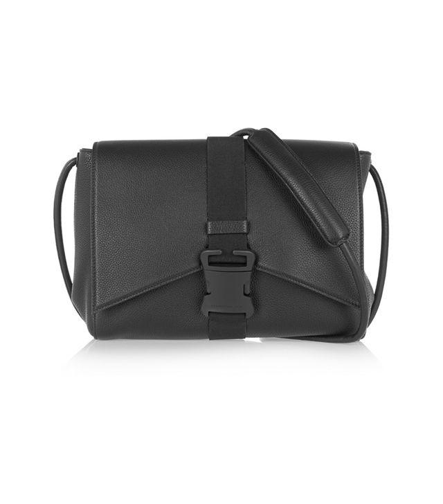 Christopher Kane Buckled Textured-Leather Shoulder Bag