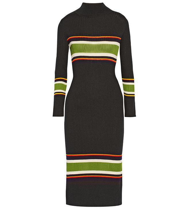 Suno Striped Wool-Blend Turtleneck Midi-Dress