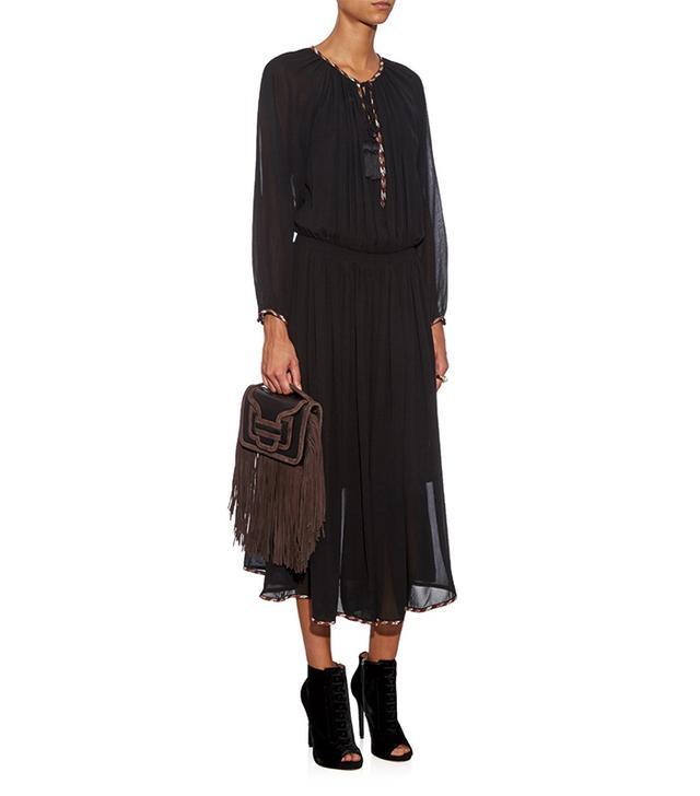 Talitha Indra Tie-Front Silk Midi Dress