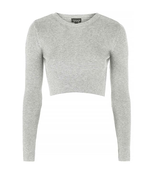 Topshop Ribbed Crew Neck Cropped Sweater