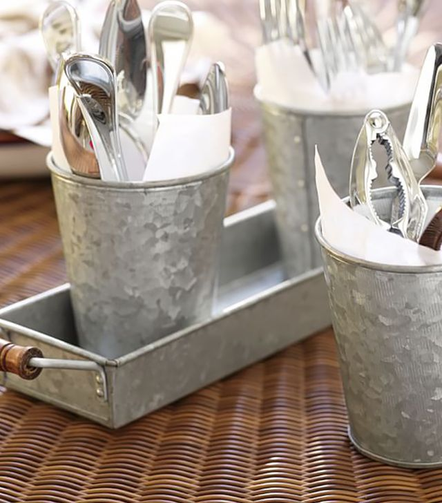 Pottery Barn Galvanized Metal Condiment and Tray Set