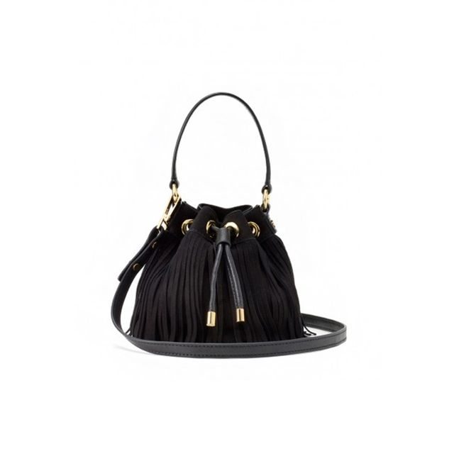 Milly Essex Suede Fringe Small Drawstring