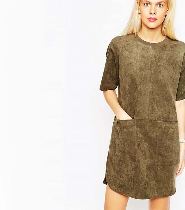 ASOS Shift Dress in Suedette With Rib Neck and Pockets