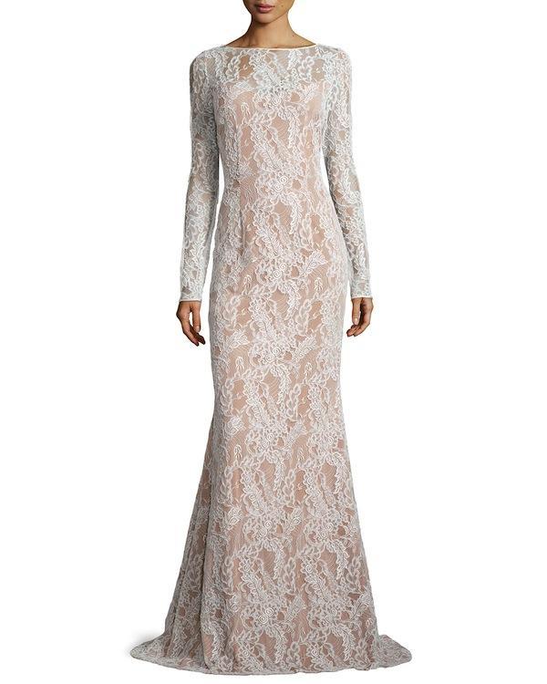 Carmen Marc Valvo Long-Sleeve Bateau-Neck Lace Gown