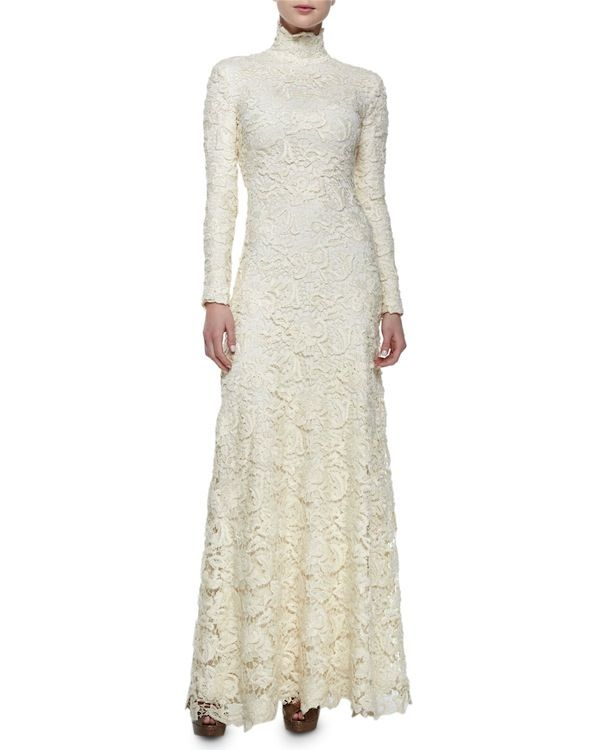 Ralph Lauren Collection Long-Sleeve Floral Lace Turtleneck Gown