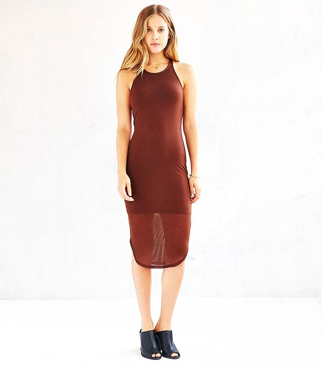 Sparkle & Fade Ribbed Racerback Tank Dress in Brown