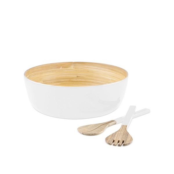 DKNY by Lenox Boerum Lacquered White Salad Bowl With Servers
