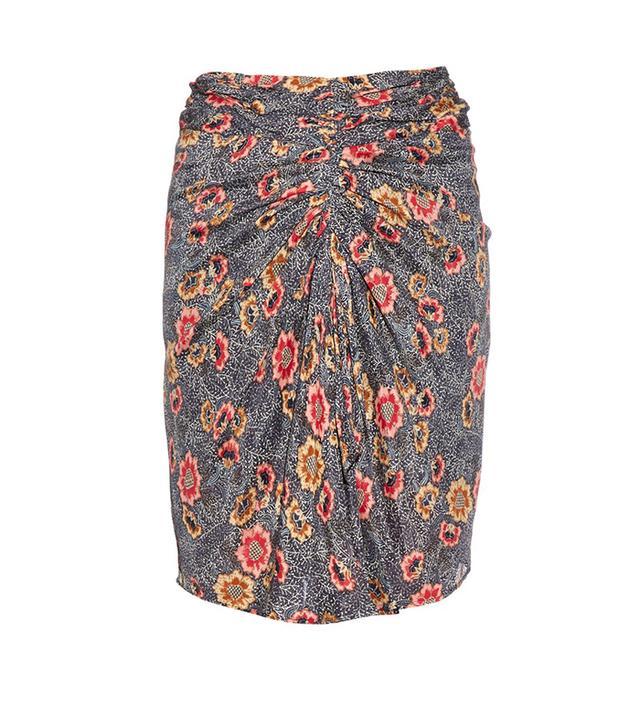 Isabel Marant Étoile Sevan Ruched-Front Floral-Print Skirt