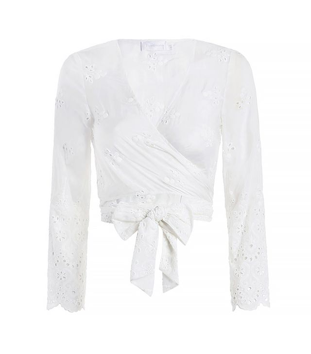 Zimmermann Gemma Embroidery Wrap Top