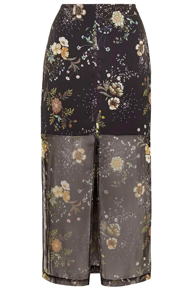 Topshop Floral Split Midi Skirt
