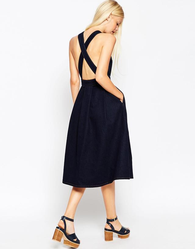 ASOS Denim Cross Back Midi Dress