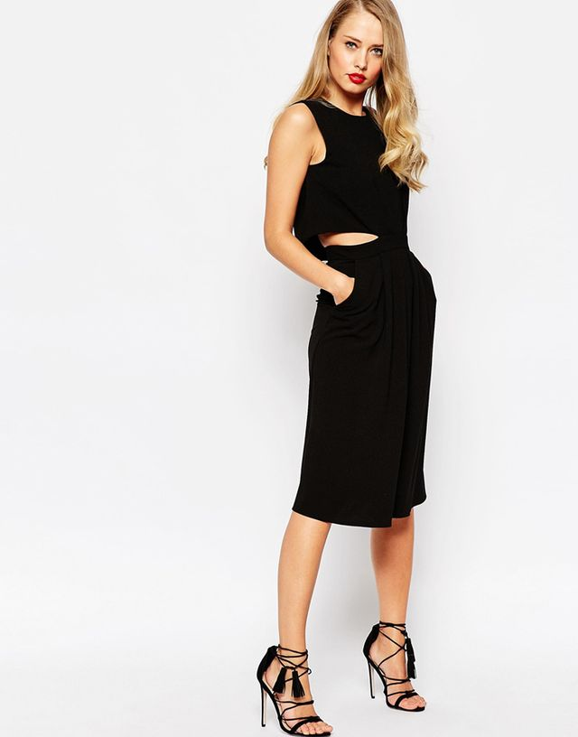 ASOS Midi Dress in Crepe With Double Layer