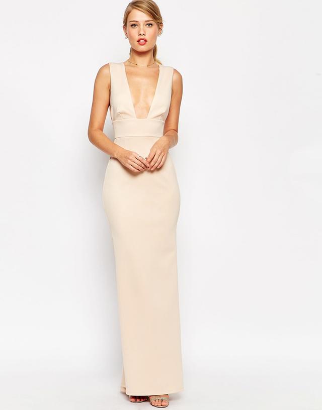 ASOS Premium Scuba Low Plunge Fishtail Maxi Dress