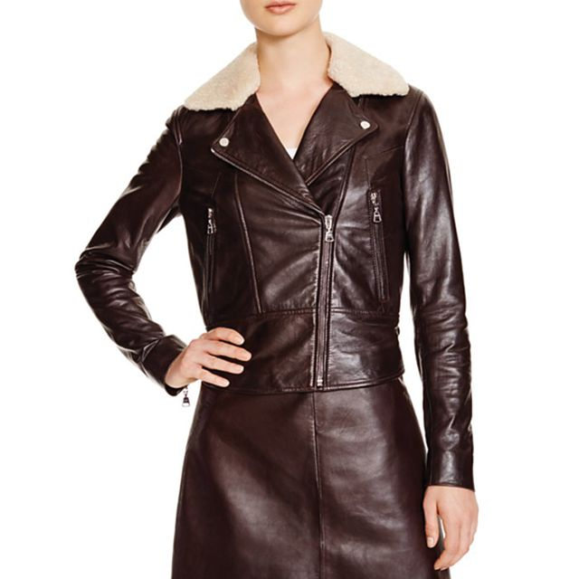 Whistles Della Shearling Collar Leather Biker Jacket - Bloomingdale's Exclusive