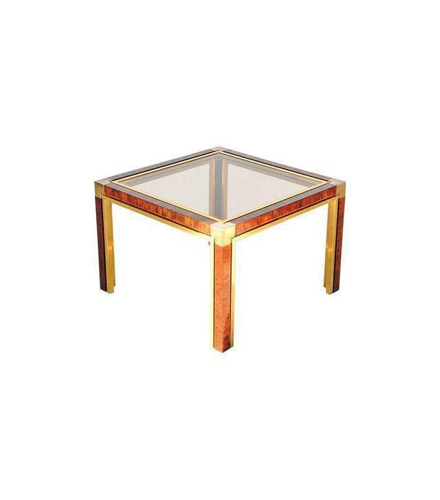 Chairish Faux Tortoise Shell and Brass End Table