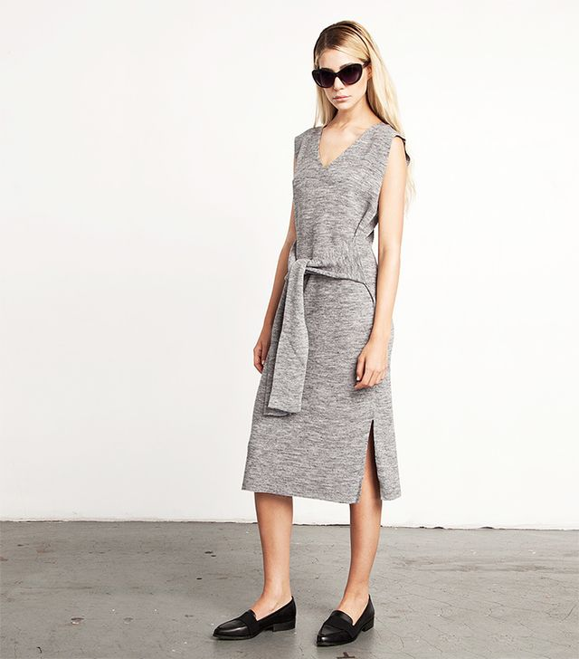 A Common Space Tie Front Knit Dress
