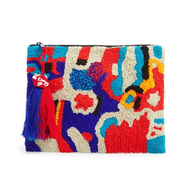 Berry Fabric Zip Clutch
