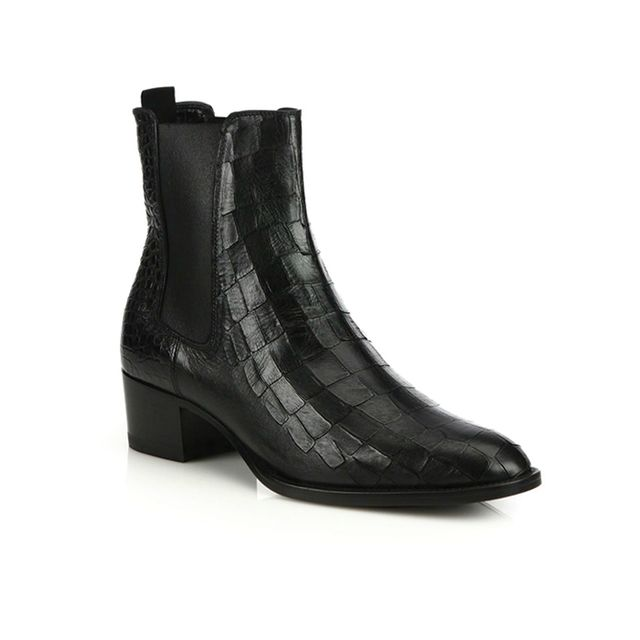 Saint Laurent Croc-Embossed Leather Ankle Boots
