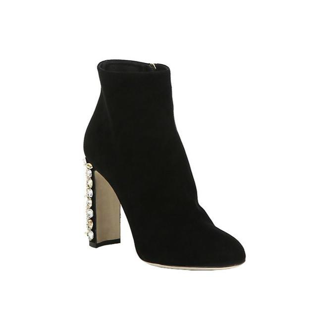 Dolce & Gabbana Suede Embellished-Heel Booties