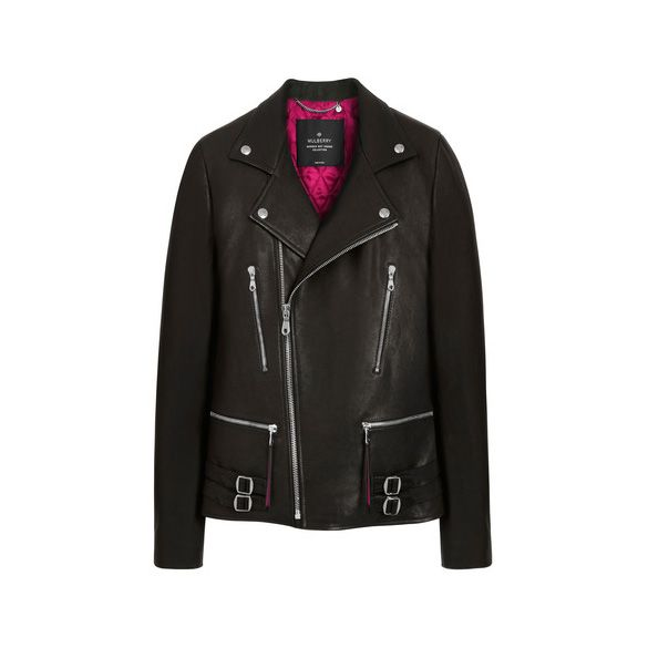 Mulberry Georgia May Jagger Biker Jacket With Ruby Magenta