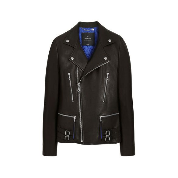 Mulberry Georgia May Jagger Biker Jacket With Sapphire Blue