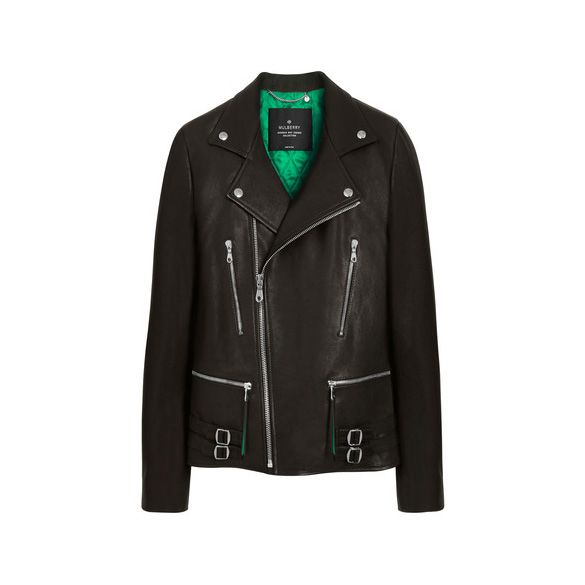 Mulberry Georgia May Jagger Biker Jacket With Emerald Green