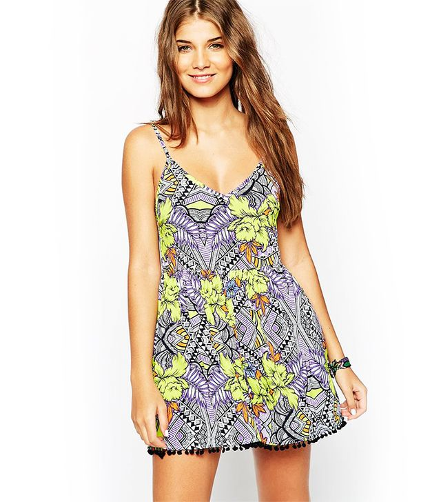ASOS Mirror Tropical Print Pom Pom Beach Romper